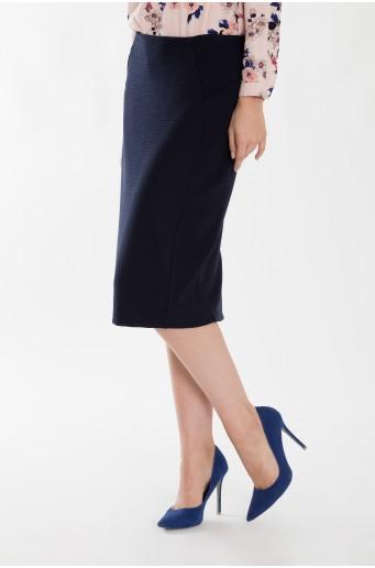 Pouzdrová tmavě modrá sukně