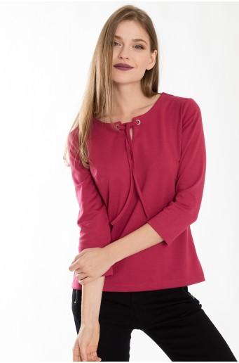 6c736c86d17 Růžová halenka z úpletu s dekorativním motivem ...