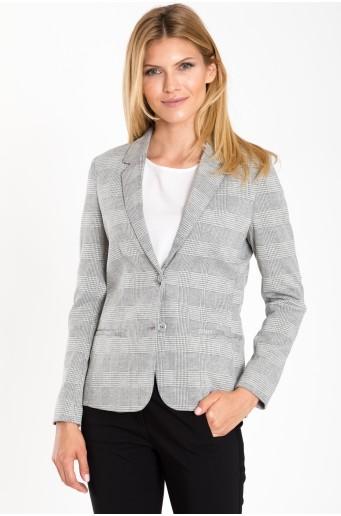 Klasický kabát s kostkovaným motivem