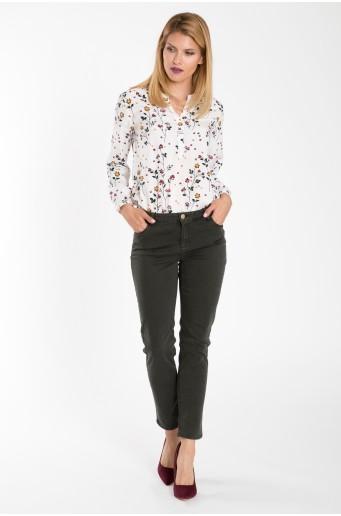 Bavlněné kalhoty olivové barvy