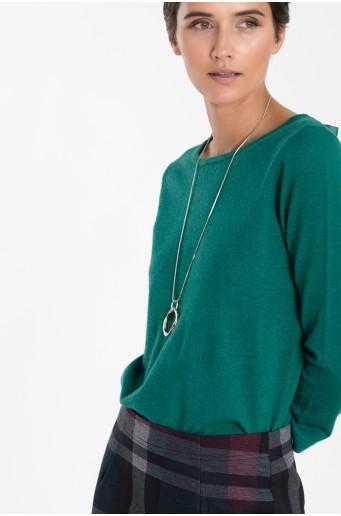 Tyrkysový svetr s dekorativním vázáním na zádech