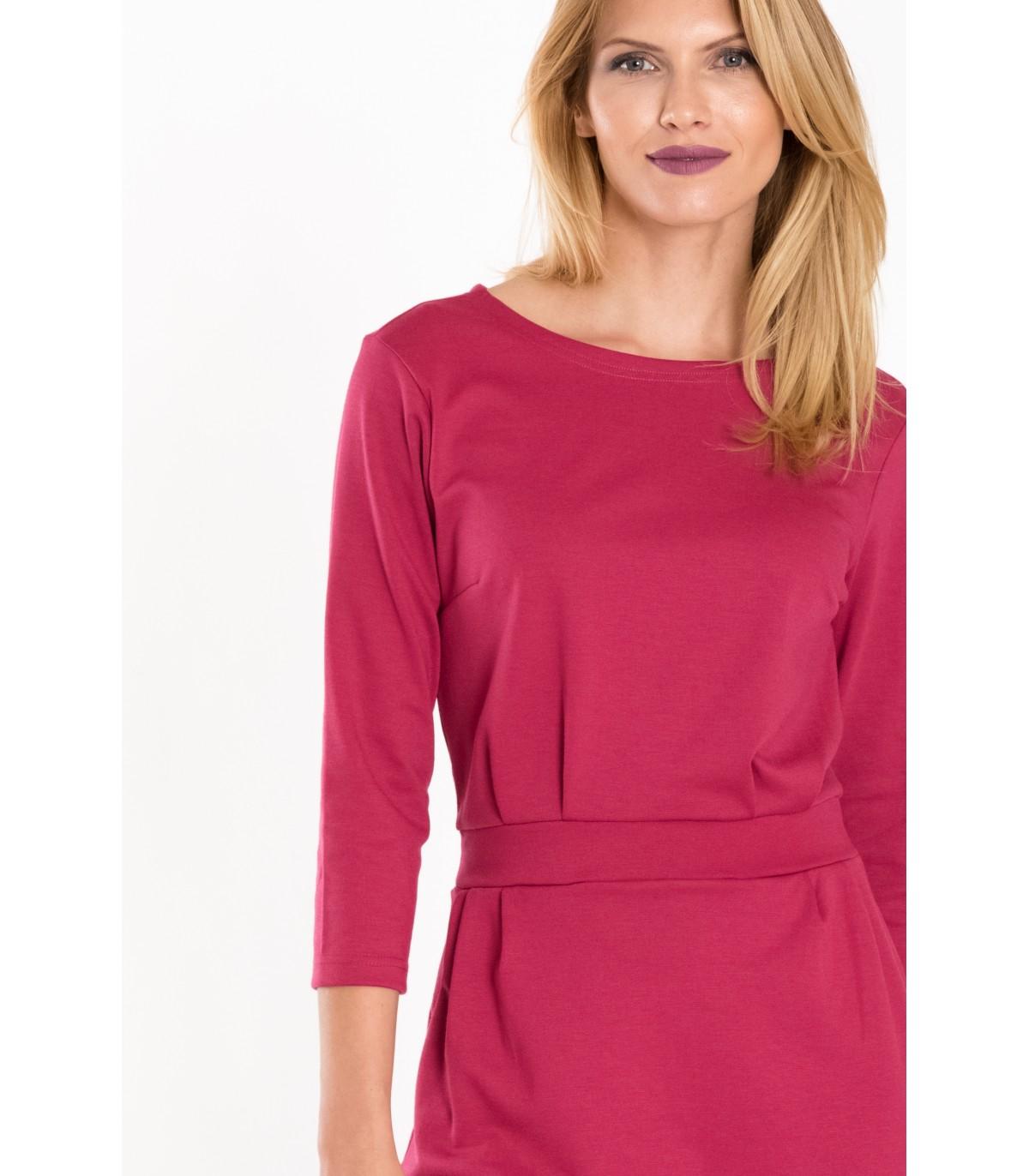 c6906514447 Ružové pletené šaty s opaskom v páse