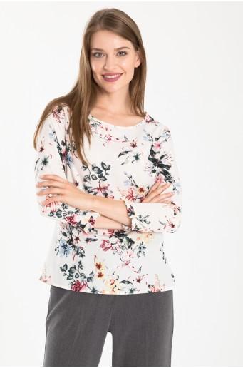 Elegantná blúzka s kvetovou potlačou