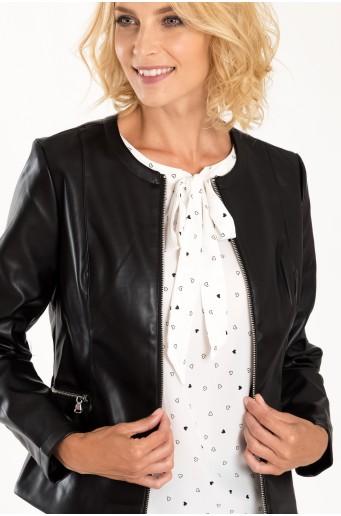 Černá bunda z ekologické kůže