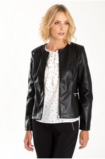 Čierna bunda z eko kože