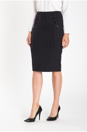 Ceruzková sukňa s pepitovým vzorom
