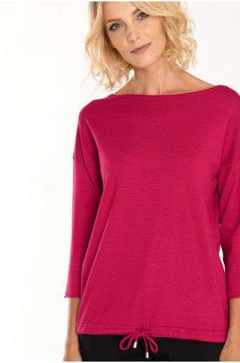 Klasický, ružový sveter so šnúrkou