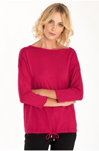 Klasický svetr se šňůrkou růžové barvy