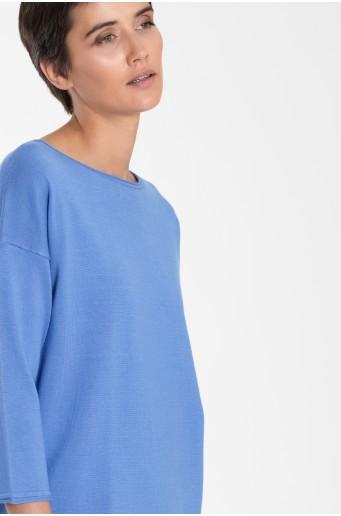 Klasický svetr se šňůrkou modré barvy