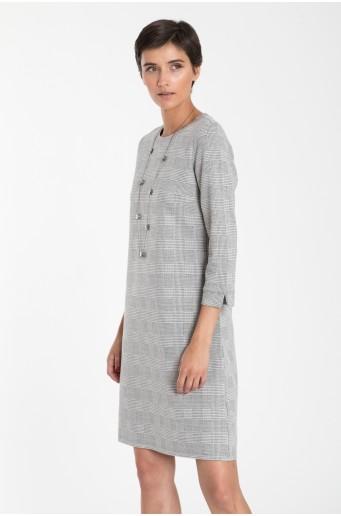 Pletené kockované šaty