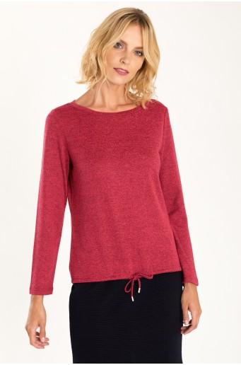Tmavě růžový svetr se šňůrkou