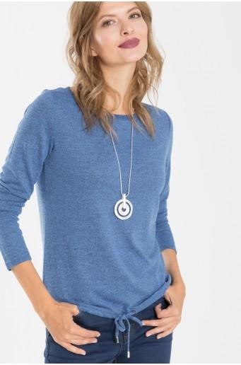Slabomodrý sveter so šnúrkou