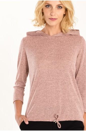 Růžový svetr s kapucí