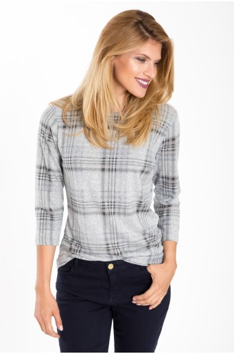 Měkký svetr s kostkovaným potiskem