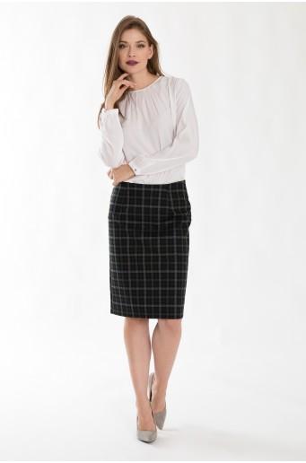 Pouzdrová sukně se vzorem jemné kostky