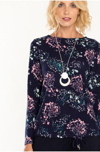 Tmavě modrý lehký svetr s květinovým vzorem