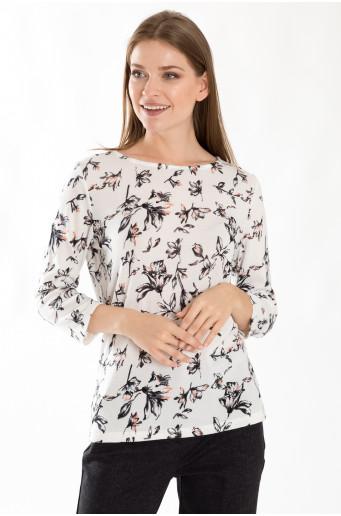 Bílý elegantní svetr s květinovým vzorem