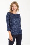 Tmavě modrý tenký svetr s potiskem