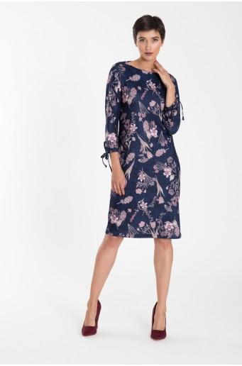 Tmavě modré elegantní šaty s potiskem