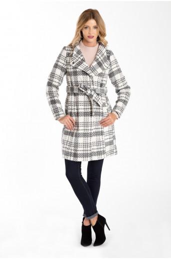 Elegantní kabát kostkovaný