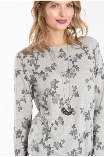 Šedý svetr s potiskem květin