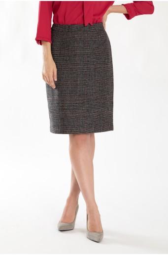 Teplá pouzdrová sukně s kostkou