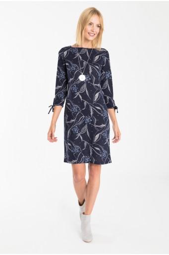Tmavě modré šaty z úpletu