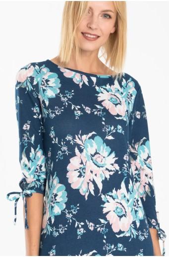 Úpletové šaty s potiskem květin