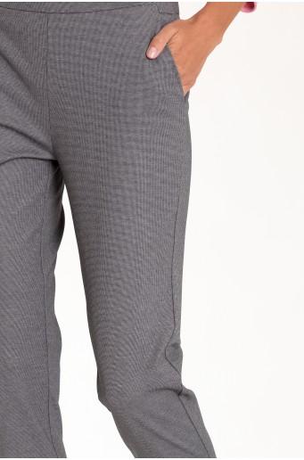 Elegantní šedé kalhoty s vysokým pasem