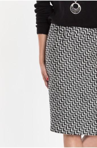 Teplá pouzdrová sukně s geometrickým vzorem