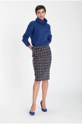 Elegantní pouzdrová sukně s kostkovaným vzorem