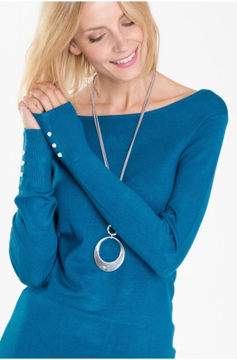 Klasický svetr s knoflíky na rukávech