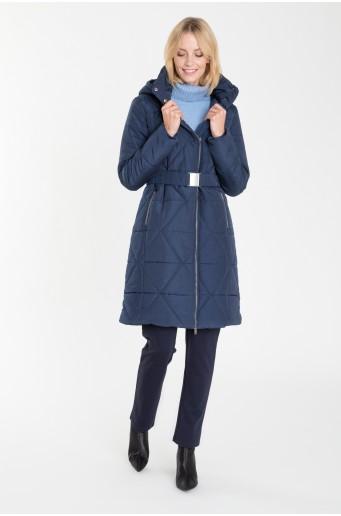 Prošívaný tmavě modrý kabát