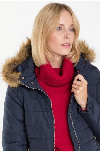 Prošívaná bunda s odepínací kapucí a kožíškem