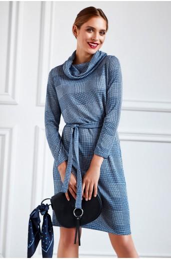 Úpletové rolákové šaty s páskem