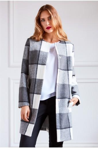 Kabát s kostkovaným potiskem