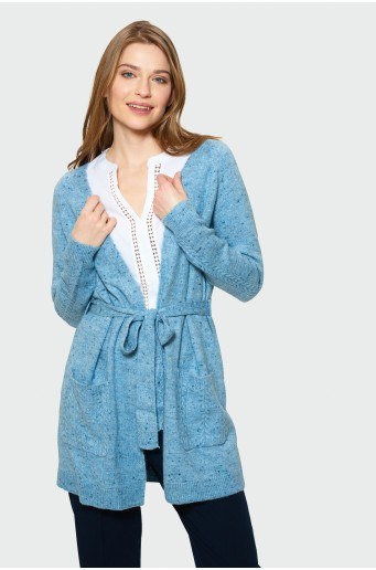 Long cardigan with strap