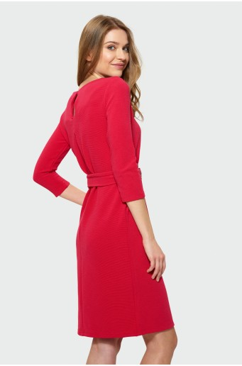 Red elegant dress with belt