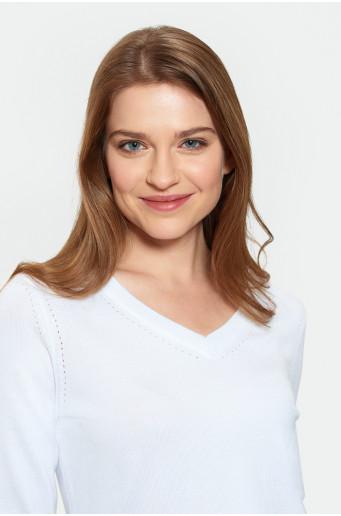 White elegant sweater with hemstitch
