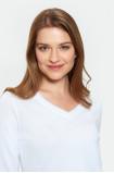Elegantný biely sveter s ozdobnou časťou