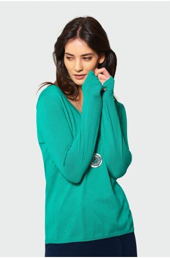 Elegantní zelený svetr s vyšíváním