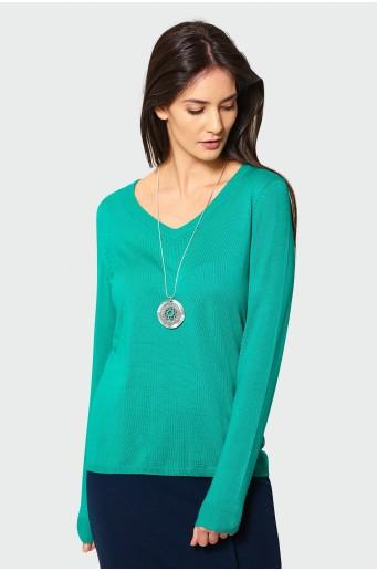 Elegantný zelený sveter s ozdobnou časťou