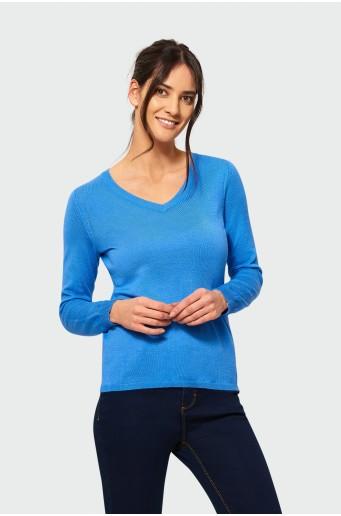 Elegantní modrý svetr s vyšíváním