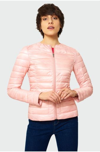 Quilted jacket with no stand-up collar