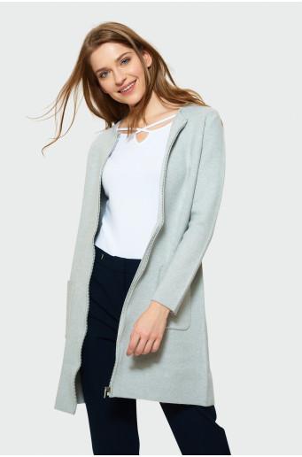 Sivý svetrový kabát