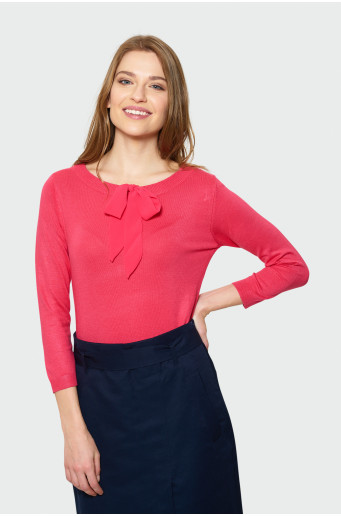 Red sweater with decorative lacing