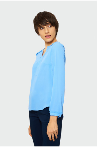 Blouse with split round neck