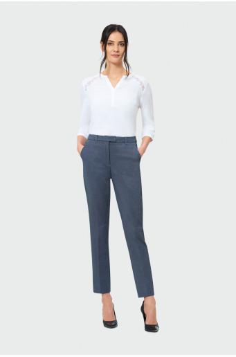 Dlouhé kalhoty s lemováním a manžetami