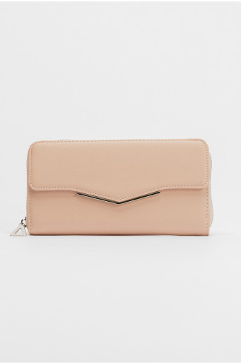 Pink wallet with metal zipper