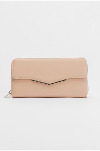 Růžová peněženka s metalickým zapínáním